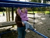 CareBear tries out the monkey bars.