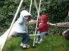 Swinging together.