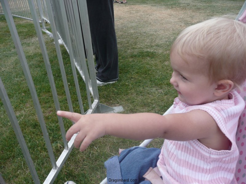 LiliBee watches CareBear ride.