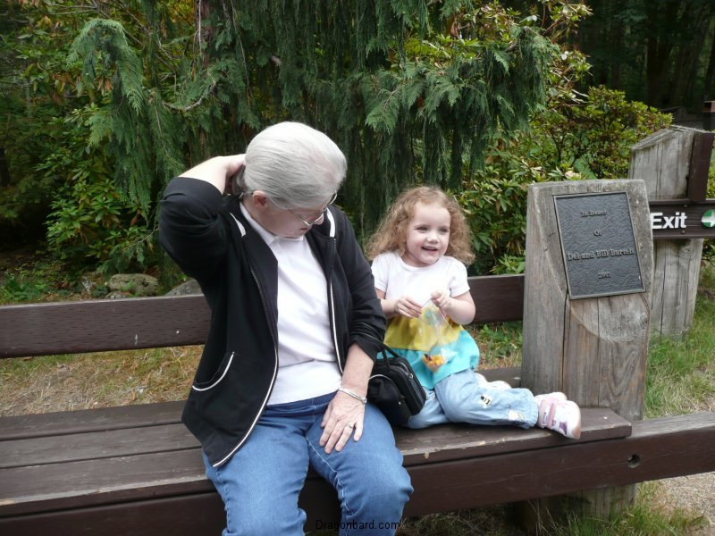 CareBear hangs on a bench with Grams.