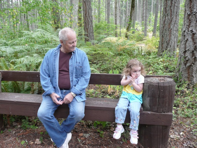 CareBear and Pas on a bench.
