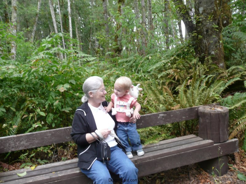 LiliBee and Grams on a bench.