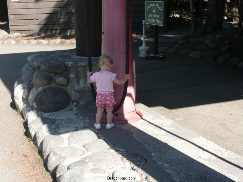 LiliBee checks out the gas pump.