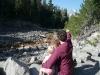 Chris shows the girls Mt. Rainier.
