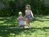 LiliBee and Cousin H head for the puddles.