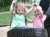 Tire swing kids.