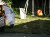 CareBear vs. the sprinkler.