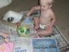 LiliBee plays with home-made goo.
