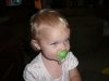 LiliBee experiments with a pacifier.