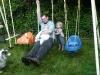 Family swinging.