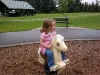 CareBear is on a horse.