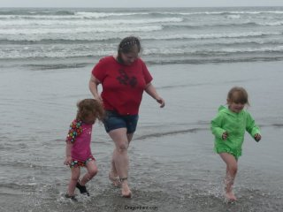 Running from the waves.