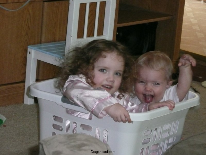 Kids in a basket.