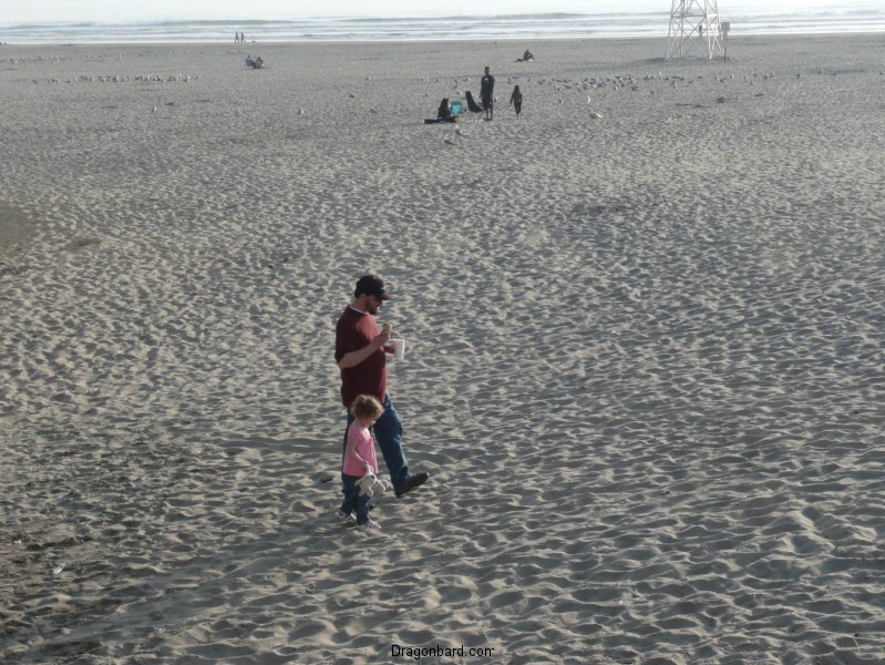CareBear and Papa on the beach.