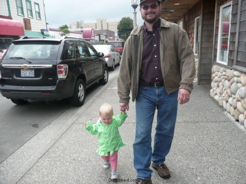 Papa and LiliBee window shopping.