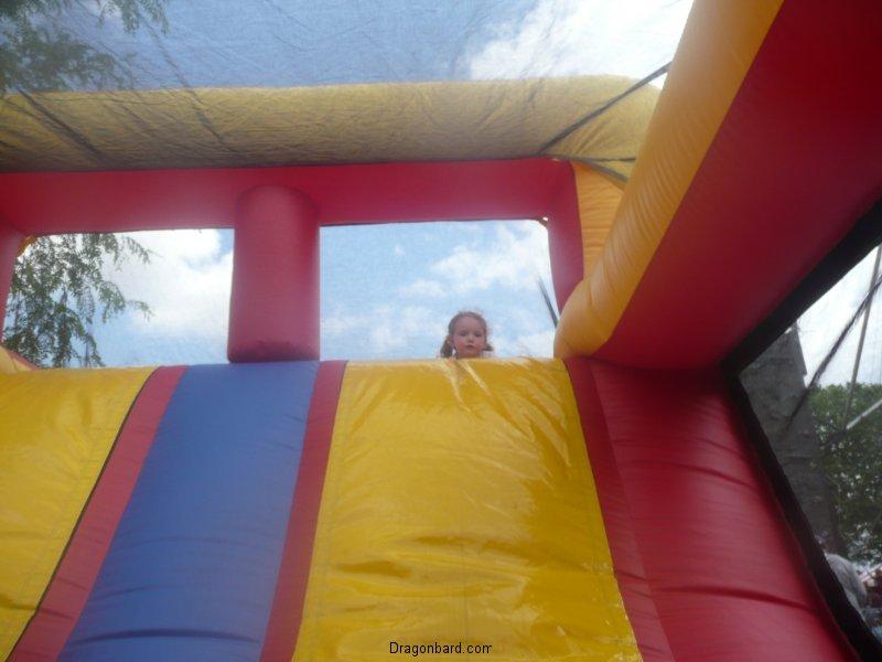 CareBear on the bouncy slide.