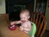 LiliBee enjoys the pudding.