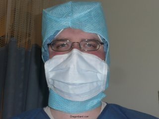 Chris in surgical gear.