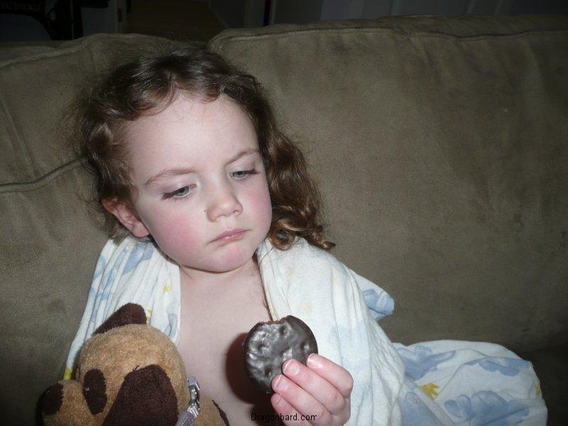 Pondering the cookie.