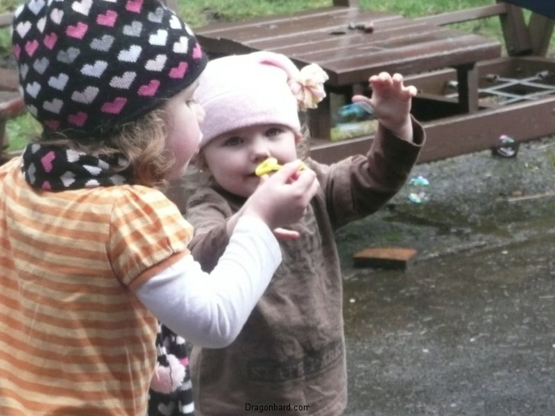 Sharing bubbles.