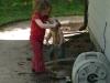 Making mud.