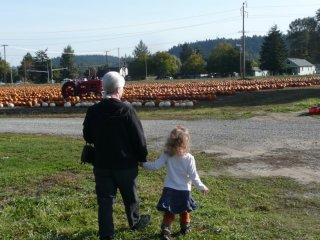 Grams and CareBear head toward the pumpkin field.