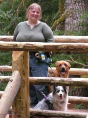 Amy and the puppies at Marten Falls